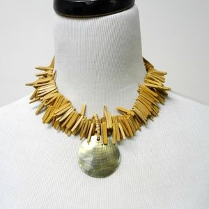MONICA mother of pearl coco shell fringe choker